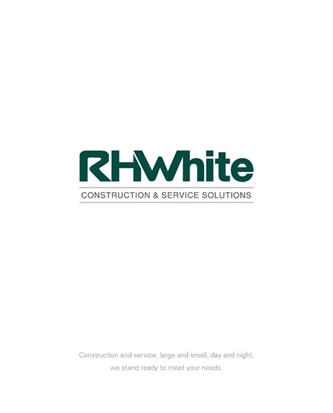 Front cover of corporate brochure for commercial construction company R.H. White Construction servicing the Worcester, MA area