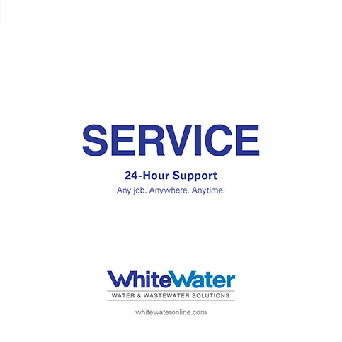 Front cover of WhiteWater Service Brochure for utility construction company R.H. White Construction servicing the Worcester, MA area