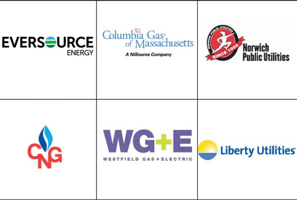 Multiple business logos representing clients of utility construction company R.H. White Construction servicing the Worcester, MA area