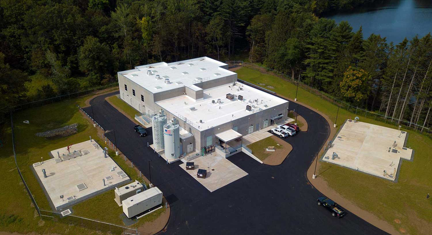 An industrial plant built by commercial construction company R.H. White Construction in Auburn, MA