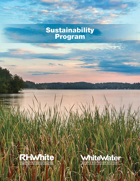 Front cover of RHW Sustainability Brochure for commercial construction company R.H. White Construction servicing the Worcester, MA area